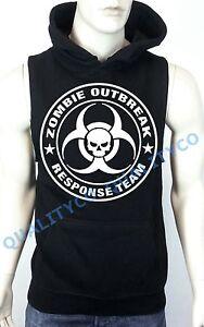 Men's Zombie Response Team Black Vest Hoodie Sweatshirt chopper biker apocalyps