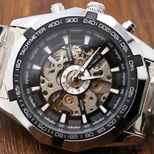 Winner Mens Black Skeleton Automatic Mechanical Analog Luxury Sport Wrist Watch