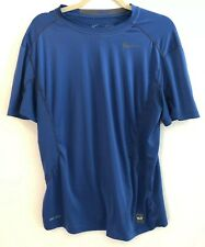 Nike Pro Combat Fitted Royal Blue Short-Sleeve Polyester Shirt Mens Medium