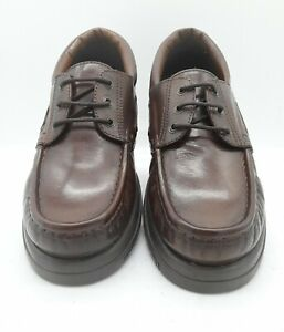 Men's UNBRANDED Size 10 UK Brown Leather Boat Shoes Chunky Soles Laced In E U C