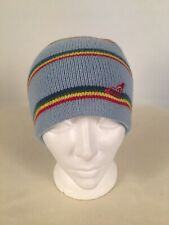 Roxy Hat Knit Beanie Blue & Colored Stripes Embroidered Red Logo