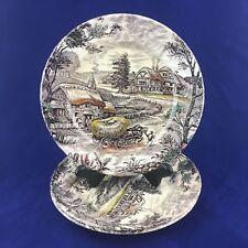 3 YORKSHIRE STAFFORDSHIRE IRONSTONE Hay Cart Wagon Farm Scene Salad Plate 4405