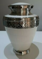 CREMATION URN ADULT - WHITE IVORY COLOUR AND NICKEL URN
