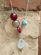 Aqua sea glass pendant, lampwork & agate bead necklace