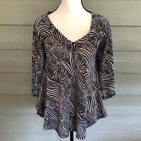 Charming Charlie zebra Animal Print Blouse Large pullover semi-sheer tunic top