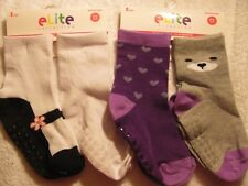 New 6 Pair Elite Collection Toddle Girls Socks 12-24 months 3 Different Styles