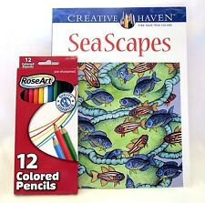 Seascapes Creative Haven Adult Coloring Book With 12 ct Colored Pencils
