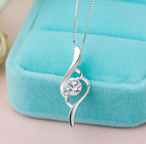 925 Sterling Silver Plating Fashion Women Crystal Pendant Jewelry Wholesale #14