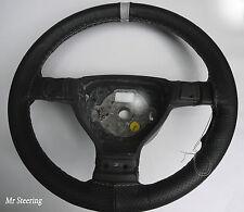 Per BMW E60 E61 03-10 nero perforato in Pelle + cinturino grigio Steering wheel cover