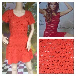 Vintage 1960's Orange Crochet Mini Dress Twiggy Mod Retro 6/8