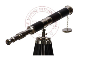 Antique Floor Standing Tripod Nautical Maritime Solid Brass Leather Telescope