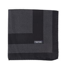 New $180 TOM FORD Black-White Dot Print Silk Pocket Square