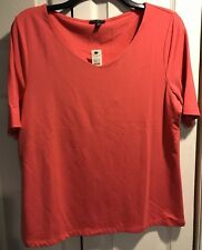 Talbots salmon knit top Size Large Petite rayon blend CAREER short sleeves