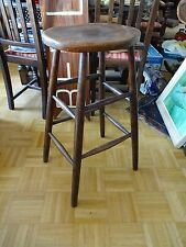 Antique German 1900s Wood High Stool Correction Stool Chair Display Prop Rustic