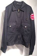 Vintage 1970s PEORIA IL FIRE DEPT. Blue Uniform Jacket w/ Red Insignia Mr. 2 Ply