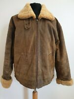 C794 MENS CIRO CITTERIO BROWN LEATHER SHERPA CUFF & COLLAR COAT UK M EU 50