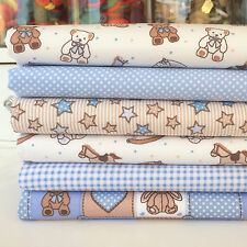 Baby blue & beige 6 piece fat quarter bundle 100% cotton fabric for sewing/craft