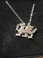 "Welsh Dragon Made From Fine Pewter On 16"" Silver Plated Curb Chain Necklace cw31"