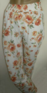 "Next Orange Floral Print Cotton Long Pyjama Bottoms Size 6 XS Inside Leg 30"""