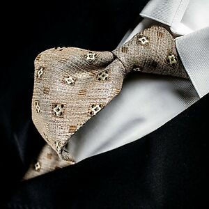 ERMENEGILDO ZEGNA Made in Italy  Brown Latte with Bronze and Ivory Geometric Tie