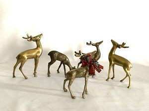 "Vintage Brass Deer family figurines Set Of 5 Doe & Buck, Doe & Fawn 4.5""-6.75"""