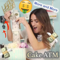 NEW Surprise Making Toy-Cake ATM-Happy Birthday Cake Topper - Money Box Funny AP
