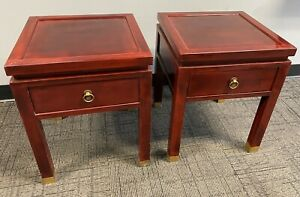 """RARE Vintage THANH LEY Vietnam Pair 19"""" Red Lacquer Wood Brass Side End Tables"""