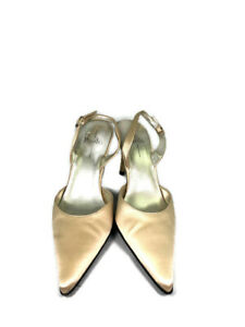 Women's Linea Paolo Champagne and Gold Sling Back Pointed Toe Heels Size 8.5N