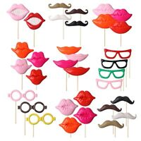 33pcs Photo Booth Props For Party Polymer Clay Glasses Moustache Lips on A Stick