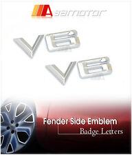 2x V6 BMW Chrome Color Fender Side Emblem Badge Decal Letter Sticker 20mm High