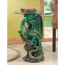Glass Top Table with Green Dragon Base - Myth Legend Decor