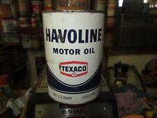 Early Original Havoline Texaco Motor Oil Quart Metal Can Full