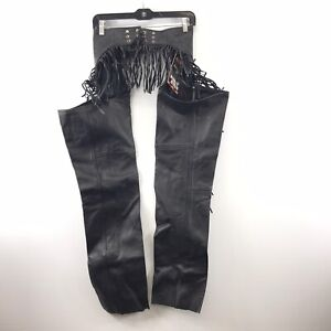 NWT Interstate Leather Black Genuine Leather Chaps w/ Fringe Size XS S05-5