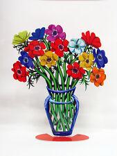 David Gerstein Metal Modern ART Sculpture Poppies  Anemones Flower Vase - LARGE