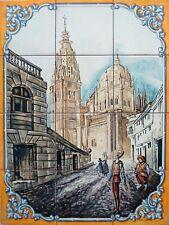 Mural pintado a mano en azulejos de cerámica de la Catedral de Toledo y Quijote