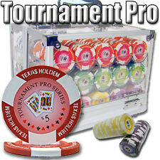 New 600 Tournament Pro 11.5g Clay Poker Chips Set w/ Acrylic Case - Pick Chips!