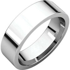 6mm Solid 14K White Gold Plain Flat Design Comfort Fit Wedding Band Ring Size 7