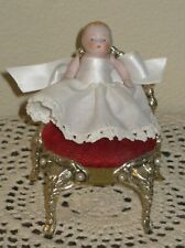 """ANTIQUE 2 1/2"""" ALL-BISQUE CANDY BABY, MARKED """"67  GERMANY"""", WITH """"GOLD"""" CHAIR"""