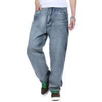 NEW Plus Size Men's Jeans Baggy Casual Hip Hop Pants Denim Trouser Simple W30-46