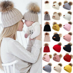 Women Lady Baby Toddler Knit Fur Pom Pom Bobble Beanie Hat Mom Daughter Matching