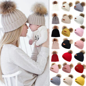 Women Girls Baby Toddler Fur Pom Pom Bobble Knitted Beanie Mom&Daughter Matching