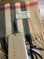 BURBERRY Unisex 100% Cashmere Scarf Classic Check Pashmina With Roll Tube Box