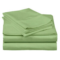 100% Percale Cotton Solid Sage Bedding Sheet Set 4 PCs Queen/King All Size/Drop