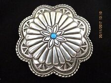 ~BN SILVER FINISHED METAL with BLUE CENTRE STONE UNISEX BELT BUCKLE-COWBOY/GIRL~