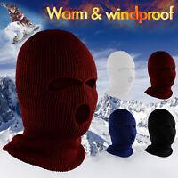 3 Holes Full Face Ski Hood Knitted Winter Hood Military Hat Beanie Balaclava Cap