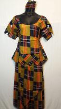 """Women Clothing African Kente Print Ankara Skirt Suit w/ Wrap Skirt M 42"""" around"""