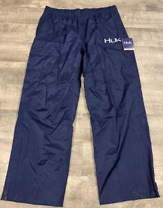 Huk Performance Fishing Waterproof Wind proof Navy Blue Rain Pants Mens Size 2XL