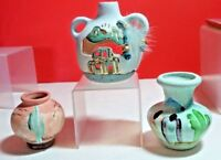 LOT OF 3 SOUTHWESTERN STYLE POTTERY JARS AND CANDLE HOLDER HOME DECOR
