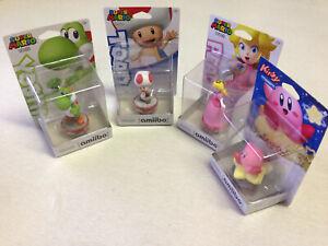 Nintendo amiibo Toad Yoshi Peach and Kirby 4 Figure Set / Lot New In Box