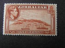 GIBRALTAR, SCOTT # 108a, 1p. VALUE CHESTNUT KGV1 1942 PERF.14 ISSUE MVLH